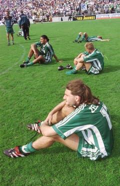 Die St.Galler Marc Zellweger, Wilco Hellinga und Edvaldo Pereira (von vorne) können es nicht fassen: Der Cupfinal ist verloren. (Rainer Bolliger)