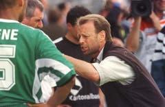 St.Gallen-Trainer Roger Hegi vor der Verlängerung. (Rainer Bolliger)