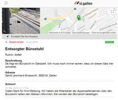 Anders als die beiden vorangehenden Entsorgungstricks nicht wirklich üblich ist das Deponieren des Bürostuhls auf den Gleisen vor der Leonhardsbrücke. (Illustration: Stadt St.Gallen)