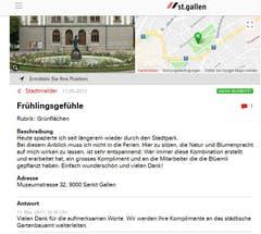 Auch das gibt's im St.Galler Stadtmelder: Einer bedankt sich für die Frühlingsgefühle, die ihm das Tulpen-Arrangement rund um den Gaukler-Brunnen im Stadtpark bereitet hat. (Illustration: Stadt St.Gallen)