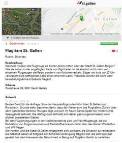 Wieso wird St.Gallen in der Nacht manchmal von grossen Flugzeugen in geringer Höhe überflogen? (Illustration: Stadt St.Gallen)