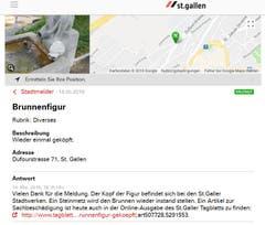 Die Brunnenfigur an der Kreuzung Dufour-, Tigerberg- und Winkelriedstrasse hat im Mai - nicht zum ersten Mal - den Kopf verloren. (Illustration: Stadt St.Gallen)