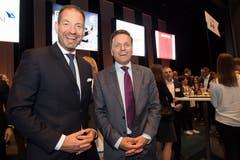 Ganz entspannt nach der erfolgreichen Preisverleihung: SVC Regionenleiter Zentralschweiz Christoph Baggenstos (links) mit SVC Präsident Andreas Gerber. (Bild: Eveline Beerkircher)