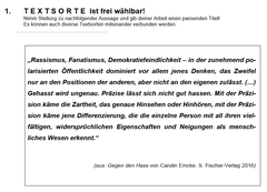 Frage aus dem Bereich Deutsch. (Quelle: Kantonsschule Trogen)