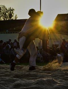Dynamischer Kampf am 45. Baarer-Abendschwingen vor der untergehenden Sonne. (Bild: Ernst Rohrer)