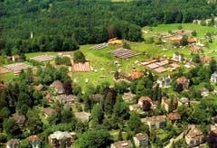 Das Areal des Kinderfestes 2002 auf dem Rosenberg aus der Luft. (Bild: Philip Baer)