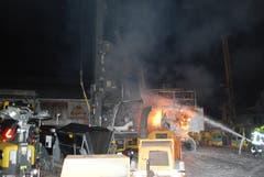 Das Drehborgerät wurde beim Brand komplett zerstört. (Bild: Luzerner Polizei)