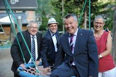 Landratspräsident Peter Tresch (vorne) mit seinen Ratsleitungskollegen Ruedy Zgraggen, Pascal Blöchlinger und Ratleitungskollegin Sylvia Läubli (von links). (Bild: Urs Hanhart (Göschenen, 20. Juni 2018))