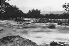 Die Ausbruchsstelle des Steinenbachs im Geretsfeld mit Blick Richtung Scheune von Akkordanten Jakob Auer. (Bild: Staatsarchiv SG)