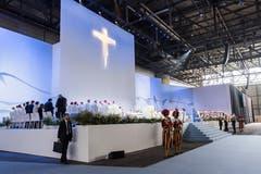Blick in die Palexpo-Halle in Genf, wo die Messe stattfand. (Bild: Martial Trezzini / Keystone)