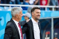 Die Trainer der Schweiz und Serbiens, Vladimir Petkovic (links) und Krstajic Mladen (Bild: KEYSTONE/Laurent Gillieron).