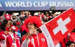 Aufgestellte Schweizer Fans. (Bild: KEYSTONE/Laurent Gillieron)