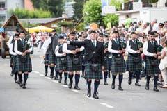 Festumzug am Jodlerfest Schötz. Im Bild: Swiss Highland Pipers Zug. (Bild: Manuela Jans-Koch. Schötz 24.Juni 2018)