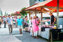Arenenberg TG - Arenenberger Tag. Marktstände mit einer Vielzahl regionalem Käse. Tag der offenen Tür.