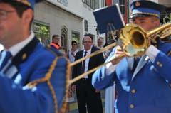 Begleitet wurde der neue Landammann Christoph Amstad von der Musikgesellschaft Sonnenberg Schwendi