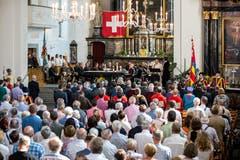Der Gottesdienst in der Kirche St. Stefan. (Bild: Philipp Schmidli, 1. Juli 2018)