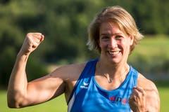 Die 31-jährige Luzernerin verbesserte die eigene, vor zwei Jahren in Dischingen erzielte Bestmarke um 2,59 m auf 67,42 m. (Bild: Alexandra Wey / Keystone (Luzern, 9. Juli 2018))