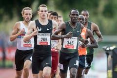 Clayton Murphy (USA, Mitte) gewinnt die 800m in 1:46,41 Minunten. (Bild: Urs Flüeler / Keystone (Luzern, 9. Juli 2018))