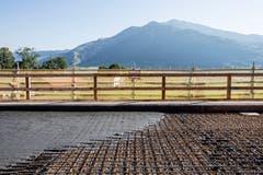Ultra-Hochleistungs-Faserbeton enthält drei bis vier Mal mehr Zement sowie mehr Bindemittel als normaler Beton. (Bild: Alexandra Wey / Keystone (Goldau, 12. Juli 2018))