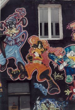 Arbeit der Graffiti-Künstlerin Zora am abgerissenen Jugendkulturzentrum Wärchhof. (Bild: PD)