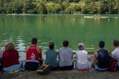 Die Ruder-Fans verteilen sich über das gesamte Rotsee-Ufer. (Bild: Boris Bürgisser (Luzern, 14. Juli 2018))