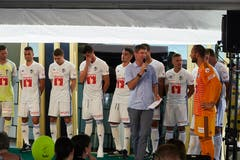 Die Mannschaft des FC Luzern in den neuen Auswärtsleibchen (Bild: Jakob Ineichen (Luzern, 15. Juli 2018))