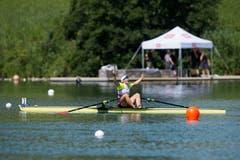 Erster Platz bei den Single Frauen geht an die Schweizerin Jeannine Gmelin. (Bild: Dominik Wunderli (Luzern, 15. Juli 2018))