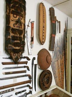 Einzelne Gegenstände, wie das Kopfjäger-Schild aus Borneo mit Haaren von erlegten Gegnern (links im Bild), sind bereits im Museum Heiden ausgestellt. (Bild: Bilder: PD)