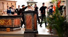 Tanzeinlage der Trachtengruppe Alpnach beim Gottesdienst in der Pfarrkirche. (Bild Robert Hess (Alpnach, 15. Juli 2018))