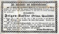 An der «Bahnhofstrasse Nr. 910» wurde 1875 «Gesundheits-Feigen-Kaffee» angeboten.
