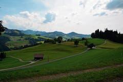 Die Aussicht vom Bänkli mit dem Schnebelhorn (links hinten) als höchsten Punkt. (Bild: Beat Lanzendorfer)