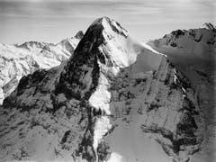 Im 1928 erschienenen Buch «Alpenflug» von Mittelholzer ist auch dieses Bild der Eigernordwand zu sehen. Es wurde im Jahr 1919 aus 3800 Metern Höhe aufgenommen. (Bilder: ETH-Bibliothek Zürich, Bildarchiv)