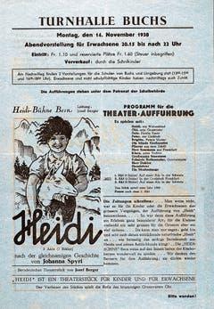 Flugblatt für die Aufführung von «Heidi» 1938 in der Turnhalle.