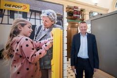 Erich Schneider, Leiter Finanzen bei der Post, in der umgebauten Hauptpost. Bild: Urs Flüeler / Keystone (Luzern, 23. Juli 2018)