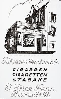 Inserat des 1906 gegründeten Tabakwarengeschäfts Frick-Senn (heute Wellauer).