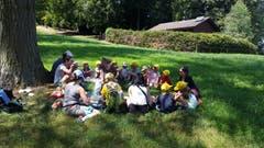 Die Kita Knirps Meggen beim Picknick im kühlen Schatten. (Lagerbild: Nicole Isenegger, Sonnenberg 25. Juli 2018)