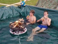 Im Kantonslager darf man sich auch mal etwas Luxus gönnen, wie hier die Jungs der Pfadi St. Anton Luzern. (Lagerbild: Thomas Walpen, Escholzmatt 25. Juli 2018)