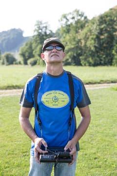Peter Huber aus Büron steuert seinen Segelflieger ASW 27. (Bild: Manuela Jans-Koch, Hüswil, 19. Juli 2018)