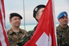 Major Martin Burch ist seit April 2018 im Kosovo. Am 18. April 2018 wurden die Fahnen gehisst am neuen Standort. Seither ist Martin Burch in der Verantwortung. (Bild: PD)
