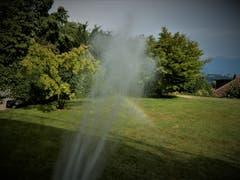 Wenn die Sehnsucht nach einem Regenbogen sehr gross ist, findet immer eine Lösung. (Bild: Margrith Röthlin-Imhof (Meggen, 2. Juli 2018))