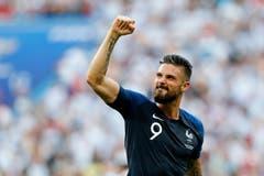 Frankreichs Olivier Giroud feiert den Sieg gegen Argentinien und damit den Einzug in den Viertelfinal. (AP Photo/David Vincent, Kazan, 30. Juni 2018)