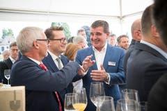 Peter Spuhler mit den St.Galler Regierungsräten Martin Klöti und Benedikt Würth.