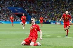 Belgien Kevin De Bruyne feiert sein Tor zum 2:0 für Belgien. (AP Photo/Frank Augstein, Kazan, 6. Juli 2018)