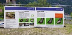 Infotafeln weisen auf die Arbeiten am Urnersee bei Seedorf hin.