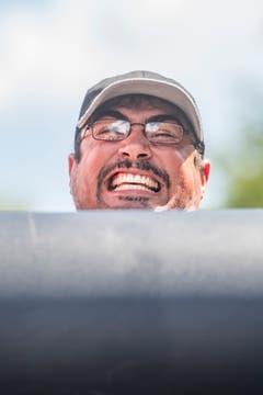 Sportler bei der Kategorie «Log Lifting» am Strongman. (Bild: Benjamin Manser)