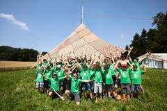 Die Jungwacht Sins hat ihr Lager bei Schmiedrued im Aargau aufgebaut (Bild: Jakob Ineichen, 8. Juli 2018).