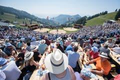Schöne Aussicht auch von den Festbänken. (Bild: Urs Flüeler/Keystone (Rigi, 8. Juli 2008))