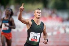 Balazs Baji (Ungarn) siegt in 13,35 Sekunden über 110 Meter Hürden. (Bild: Urs Flüeler / Keystone (Luzern, 9. Juli 2018))