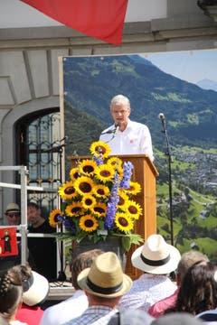 Urs Kälin, Gemeindepräsident von Altdorf, richtet ein paar Grussworte an die Festgemeinde