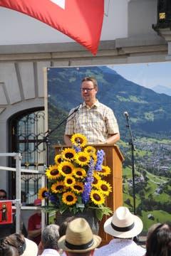 Christian Marti, Gemeindepräsident von Glarus, freut sich über den gelungenen Austausch mit und in Altdorf. (Bild: Carmen Epp (Altdorf, 1. August 2018))
